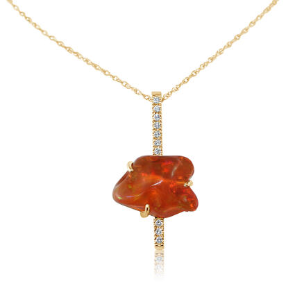 14K Yellow Gold Fire Opal/Diamond Pendant | PFOFF300379C