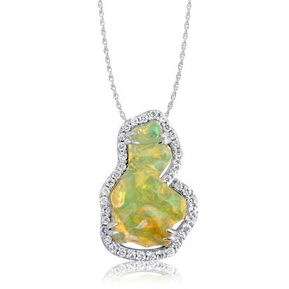 14K White Gold Mexican Fire Opal/Diamond Pendant | PFOFF300550WI