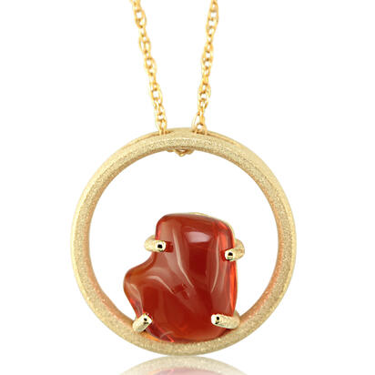 14K Yellow Gold Mexican Fire Opal Pendant | PFOFF40223C