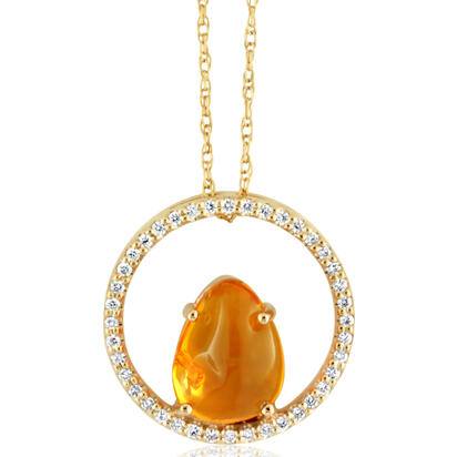 14K Yellow Gold Mexican Fire Opal/Diamond Neckpiece | PFOFF40233C