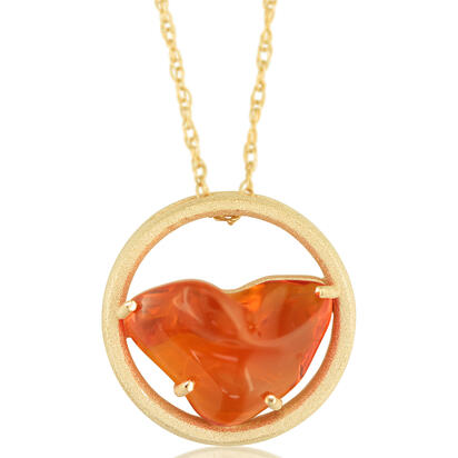 14K Yellow Gold Mexican Fire Opal Pendant | PFOFF40259C