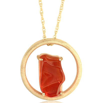14K Yellow Gold Mexican Fire Opal Pendant | PFOFF40270C