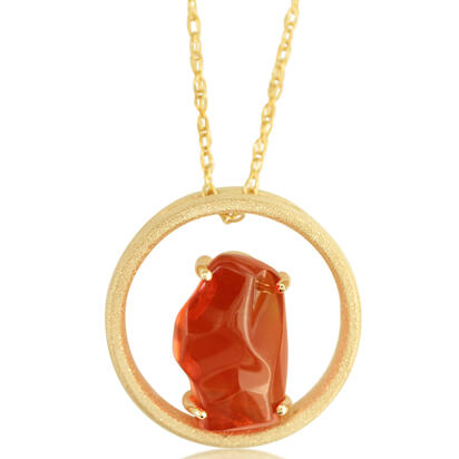 14K Yellow Gold Mexican Fire Opal Pendant | PFOFF40293C