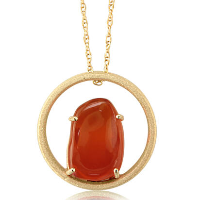 14K Yellow Gold Mexican Fire Opal Pendant | PFOFF40316C