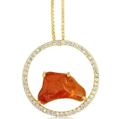 14K Yellow Gold Mexican Fire Opal/Diamond Pendant | PFOFF40389C