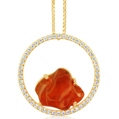 14K Yellow Gold Mexican Fire Opal/Diamond Pendant | PFOFF40408C