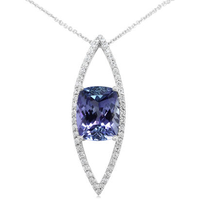 14K White Gold Peacock Tanzanite/Diamond Pendant | PFTCU850339W