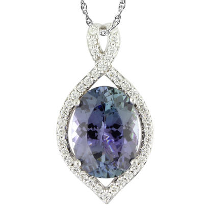 18K White Gold Peacock Tanzanite/Diamond Pendant | PFTOV900487QI