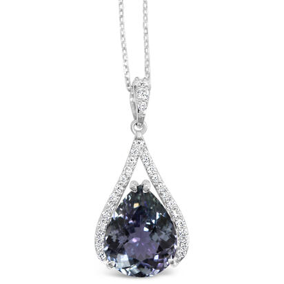 14K White Gold Peacock Tanzanite/Diamond Pendant | PFTPR875673WI