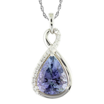 18K White Gold Peacock Tanzanite/Diamond Pendant | PFTPR900424QI