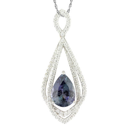 18K White Gold Peacock Tanzanite/Diamond Pendant | PFTPR900454QI