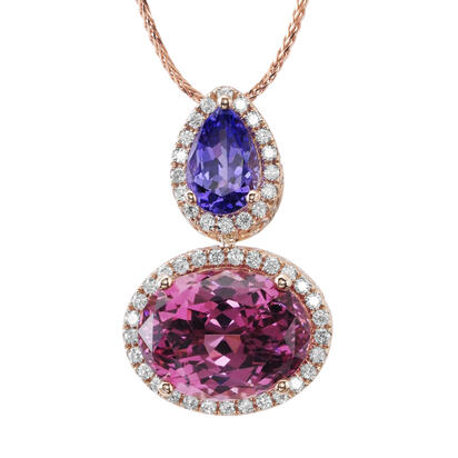 14K Rose Gold Purple Garnet/Tanzanite/Diamond Pendant | PGPOV700718R