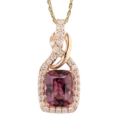 14K Rose Gold Rhodolite/Diamond Pendant | PL2CU915285RI