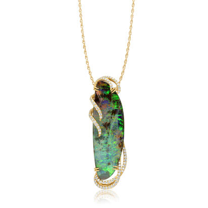 18K Yellow Gold Australian Boulder Opal/Diamond Pendant