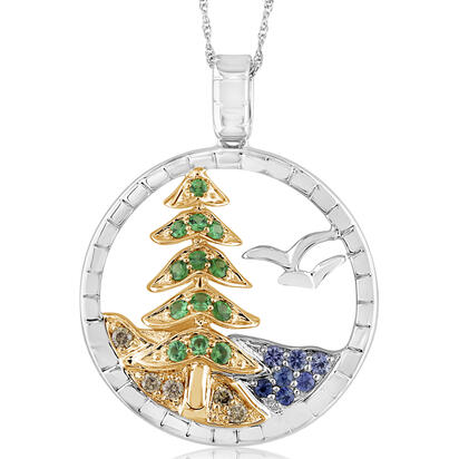 Sterling Silver /14K Yellow Gold Graduated Blue Sapphire Lake, Tsavorite Tree, Brn Diamond & Bird Pendant | PMC006MUBNI