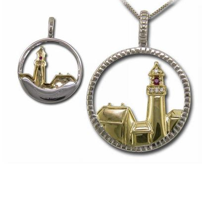 Sterling Silver Portland Head Lighthouse Sapphire/Diamond Pendant | WC-PMC011S13SI