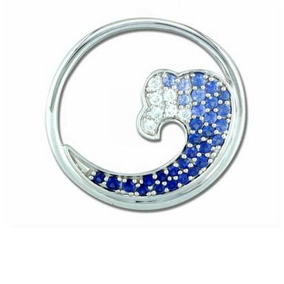 14K White Gold Graduated Blue Sapphire Diamond Tip 30mm Wave Pendant | PMC035GS3WI