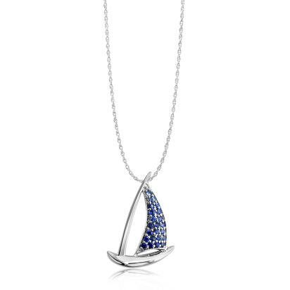 Sterling Silver Graduated Blue Sapphire Sailboat Pendant | PMC051GSXSI