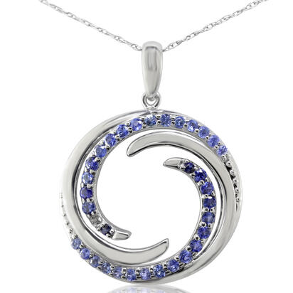 Sterling Silver Graduated Blue Sapphire Wave Pendant | PMC052GSXSI-D