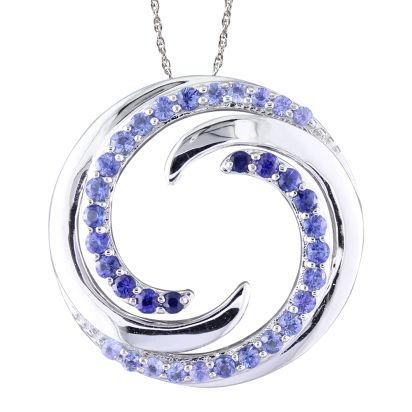 14K White Gold Graduated Blue Sapphire Wave Pendant | PMC052GSXWI