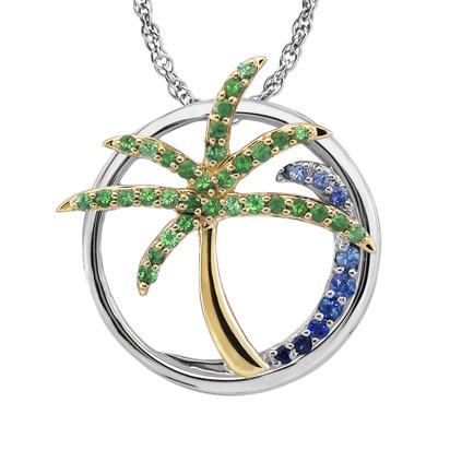 Sterling Silver /14K Yellow Gold Graduated Blue Sapphire/Tsavorite Palm Tree Wave Pendant (With Chain) | PMC054GSXNI-CH