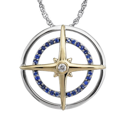 Sterling Silver /14K Yellow Gold Blue Sapphire/Diamond Compass Pendant | PMC055S12NI