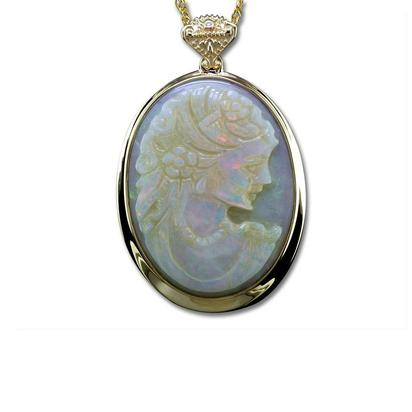 14K Yellow Gold Opal Cameo Pendant with Relic Bail | PMCAMEO750CI-008