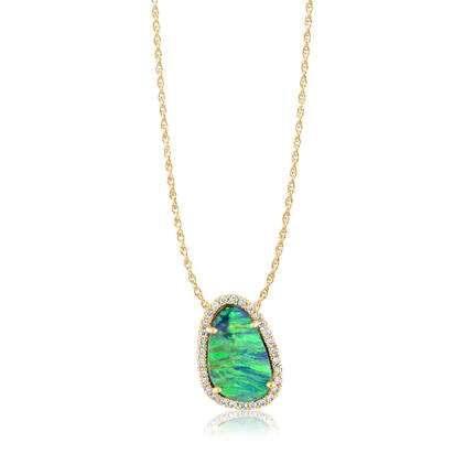 14K Yellow Gold Australian Opal Doublet/Diamond Pendant