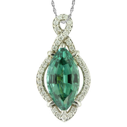 18K White Gold Mint Tourmaline/Diamond Pendant | PMHMQ700351QI