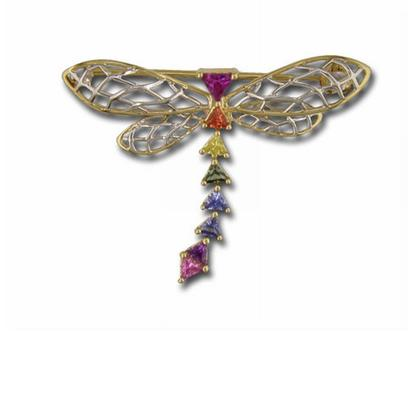 14K White and Yellow Gold Rainbow Sapphire Dragonfly Pin | PN3525DFAI