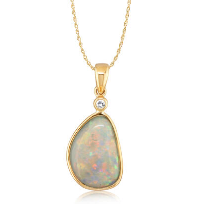 14K Yellow Gold Australian Opal Pendant with Diamond | PNAT106-20I