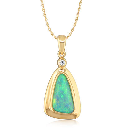 14K Yellow Gold Natural Opal Wide Bezel Pendant with Diamond | PNAT106W-10I