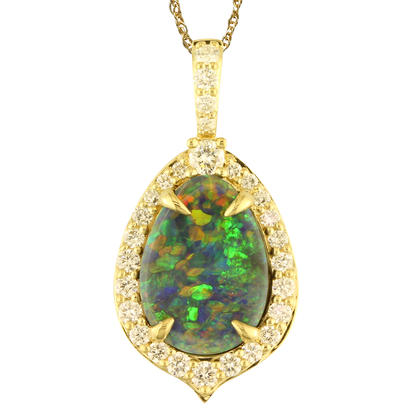 18K Yellow Gold Australian Black Opal/Diamond Pendant | PNBFF150170EI