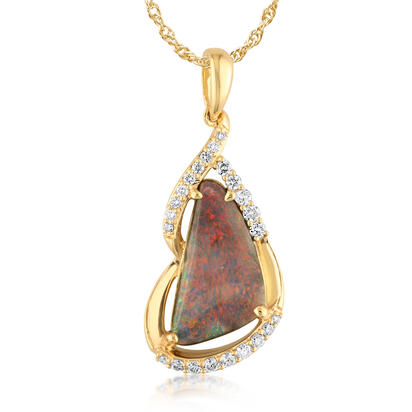 18K Yellow Gold Australian Black Opal/Diamond Pendant | PNBFF750160EI