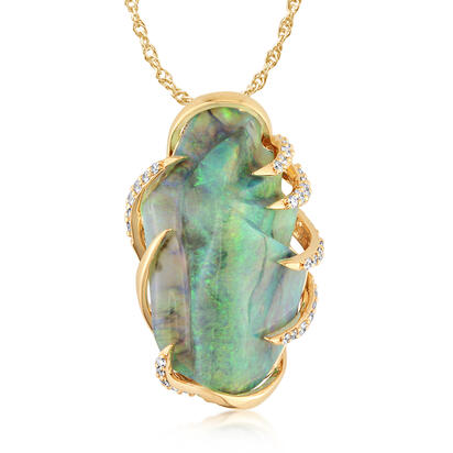 18K Yellow Gold Australian Black Opal/Diamond Pendant