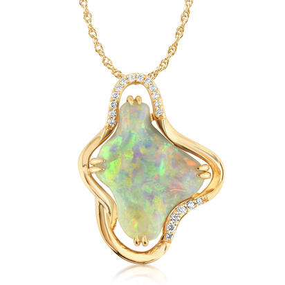 18K Yellow Gold Australian Black Opal/Diamond Pendant | PNBFF805615EI