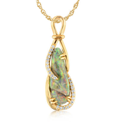18K Yellow Gold Australian Black Opal/Diamond Pendant | PNBFF828346EI