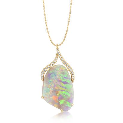 14K Yellow Gold Australian Black Opal/Diamond Pendant | PNBFF845970C