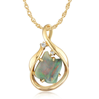 14K Yellow Gold Australian Black Opal/Diamond Pendant | PNBFFA295CI