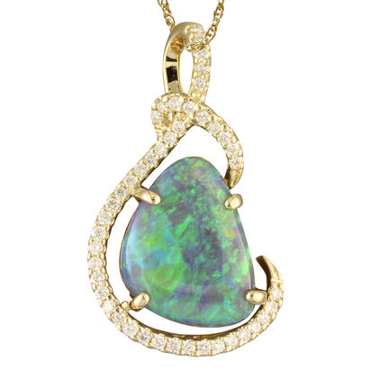 14K Yellow Gold Australian Black Opal/Diamond Pendant | PNBFFI980648CI