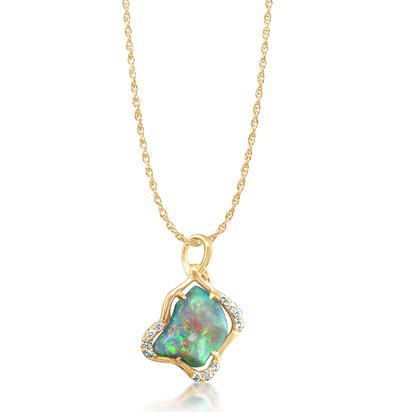 18K Yellow Gold Black Australian Opal/Diamond Pendant