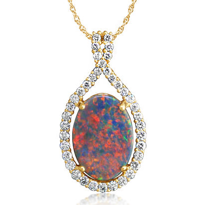 18K Yellow Gold Black Australian Opal/Diamond Pendant | PNBOV742302EI