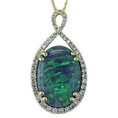 18K Yellow Gold Australian Black Opal/Diamond Pendant | PNBOVI9801089EI
