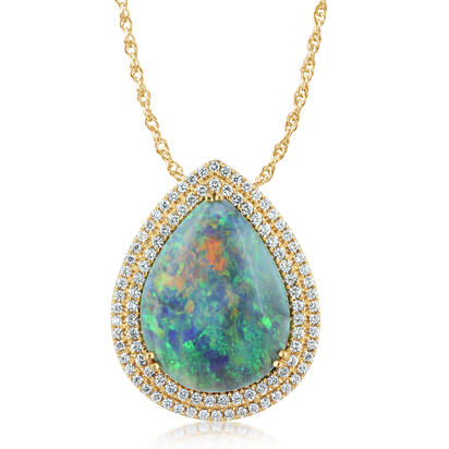 18K Yellow Gold Australian Black Opal/Diamond Pendant | PNBPR690726EI