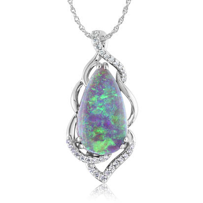18K White Gold Australian Black Opal/Diamond Pendant