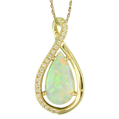 14K Yellow Gold Australian Opal/Diamond Pendant | PNLFS500201C