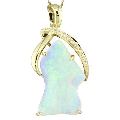 14K Yellow Gold Australian Opal/Diamond Pendant