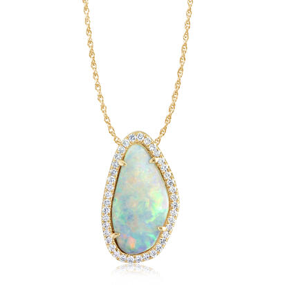 14K Yellow Gold Australian Opal/Diamond Halo Pendant | PNLOFF125113CI