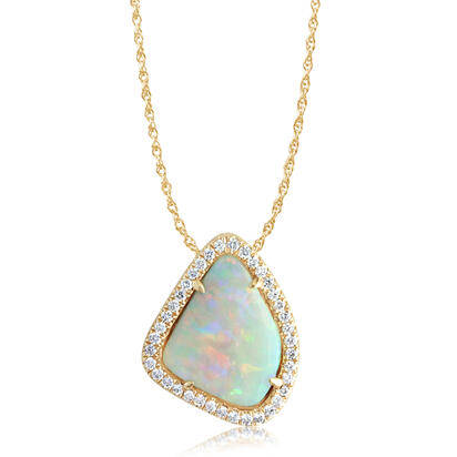 14K Yellow Gold Australian Opal/Diamond Halo Pendant | PNLOFF125148CI