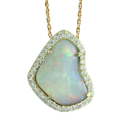 14K Yellow Gold Australian Opal/Diamond Halo Pendant | PNLOFF125150-2CI
